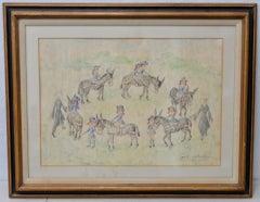 "Jean Lareuse ""School Girls on a Donkey Ride"" Original Watercolor c.1950"