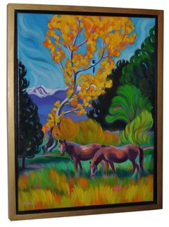 "Tracy Turner Sheppard ""Turning to Beauty"" Two Horses Oil Painting, circa 2015"