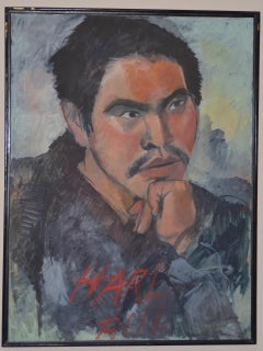 "Large Chinese Oil Portrait ""Harl, Rul"" by Frances Binnington"