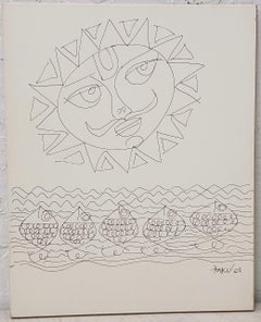 Haku Shah (India, 1934-2019) Original Pen & Ink Drawing c.1968