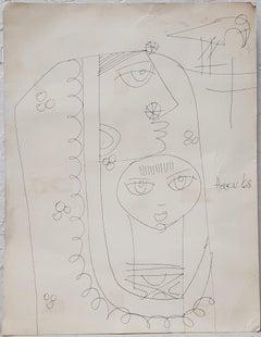 Haku Shah (India) Original Pen & Ink Drawing Indian Woman with Child c.1968