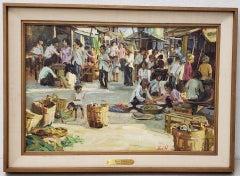 "Gerald Merfeld ""Street Market, Vietnam"" Original Oil Painting c.1980s"