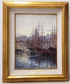 "Georges Chenard-Huche ""Port of Marsielles"" Oil Painting c.1905"