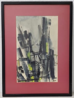 Inez May Storer Mid Century Modern Abstract Cityscape C.1950s