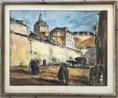 Arturo Souto Feijoo (1901-1964) City Walls w/ Figures Original Mixed Media c.195