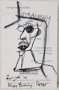 Pen & Ink of Stravinsky by Lawrence Ferlinghetti