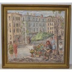 "Sara Ethel Kolb Danner ""Flower Vendor"" Oil Painting c.1950"