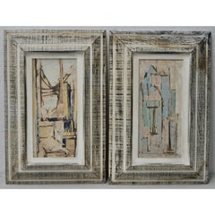 C.1950s Parker Lee Mid-Century Modern Abstract Gouache - A Pair