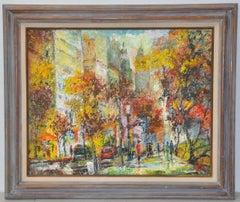 """David Heath """"Autumn in New York"""" Original Oil Painting c.1960s"""