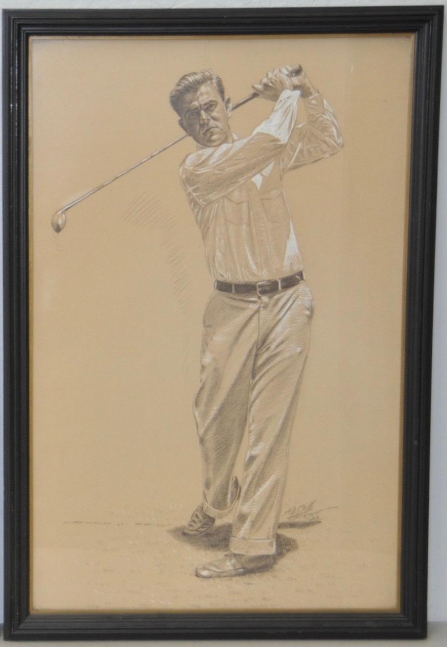 Vintage Golf Illustration by A.D. Mills c.1933