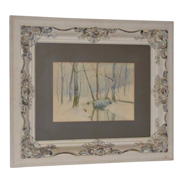 Rufus Way Smith Winter Forest Landscape Watercolor c.1880 - Art by Rufus Way Smith