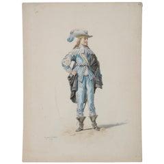 Pierre Eugene LaCoste Opera Costume Watercolor C.1875