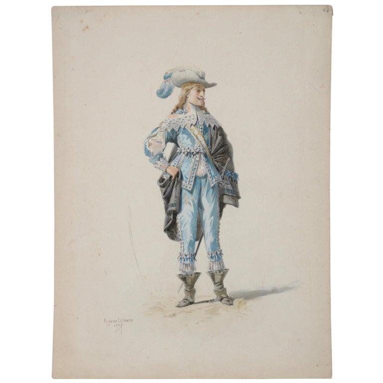 Pierre Eugene LaCoste Opera Costume Watercolor C.1875 - Art by Pierre-Eugene Lacoste