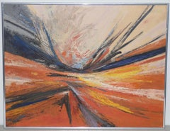 Hilda Pertha Mid Century Modern Abstract Oil Painting c.1973