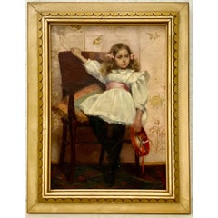 Ellen Starbuck Antique Oil Painting Girl w/ Tambourine 19th c.