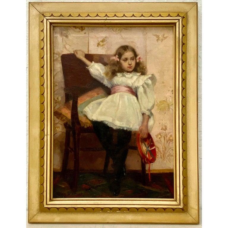 Ellen Starbuck Antique Oil Painting Girl w/ Tambourine 19th c. - Brown Portrait Painting by Ellen Starbuck