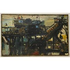 Mid Century Abstract Dock Scene by Igor Medvedev c.1960