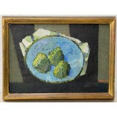"""Ivar Morsing (Sweden, 1919-2009) """"Pears"""" Still Life Oil Painting c.1950"""