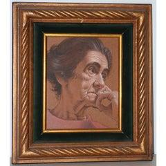 Vasileos Kapousouz Oil Portrait of Woman c.1971
