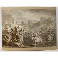 "17th to 18th Century Italian School ""Rape of Sabine Women"" Old Master Drawing"