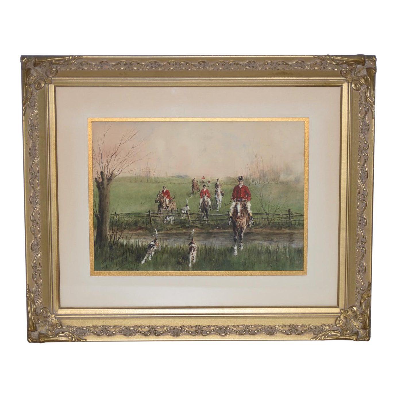 "Mid 20th Century ""Brooks & Rails"" English Fox Hunt Watercolor"