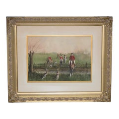 "Mid 20th Century ""Brooks & Rails"" English Fox Hunt Watercolor"