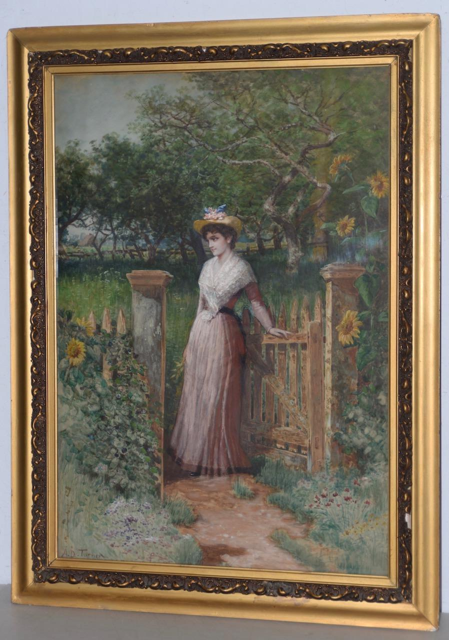 A.D. Turner Watercolor Portrait of a Young Woman at Gardens Gate c.1910