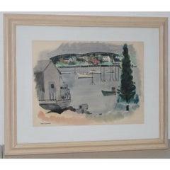 """Jason Schoener """"Boothbay Harbor"""" Original Watercolor c.1950s"""