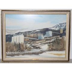 Jack Hambleton Snowy Industrial Landscape Watercolor c.1970