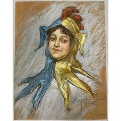 Albert Wenzell Pastel Portrait of Loie Fuller c.1890s