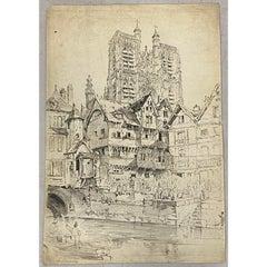 "Samuel Prout ""Abbeville, France"" Original Pen & Ink Drawing c.1819"