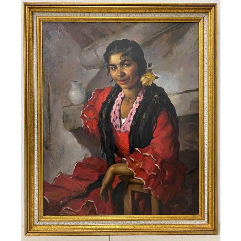"Emilio Molina Nunez ""Spanish Dancer"" Oil Painting c.1950 - Brown Figurative Painting by Emilio Molina Nunez"