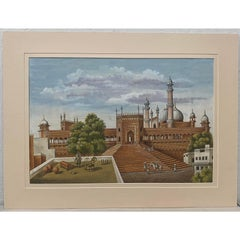 Taj Mahal Complex Original Gouache & Watercolor 19th Century