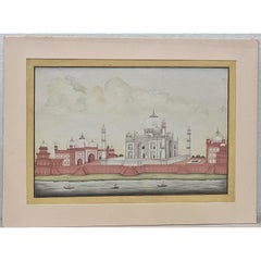 Taj Mahal Original Gouache & Watercolor 19th Century