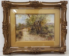 19th Century Country Landscape Watercolor by Margaret White c.1896