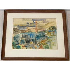 Betty Guy San Francisco Skyline Watercolor c.1950