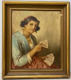 """Istvan Szasz """"Fortune Teller"""" Original Oil Painting C.1930"""