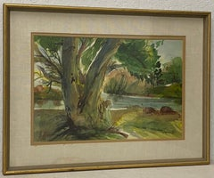 """Vintage Landscape """"The Maple by the Lake"""" by Claire Trindell C.1960"""