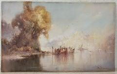 """William Knox """"Dream City"""" Original Watercolor c.1920"""