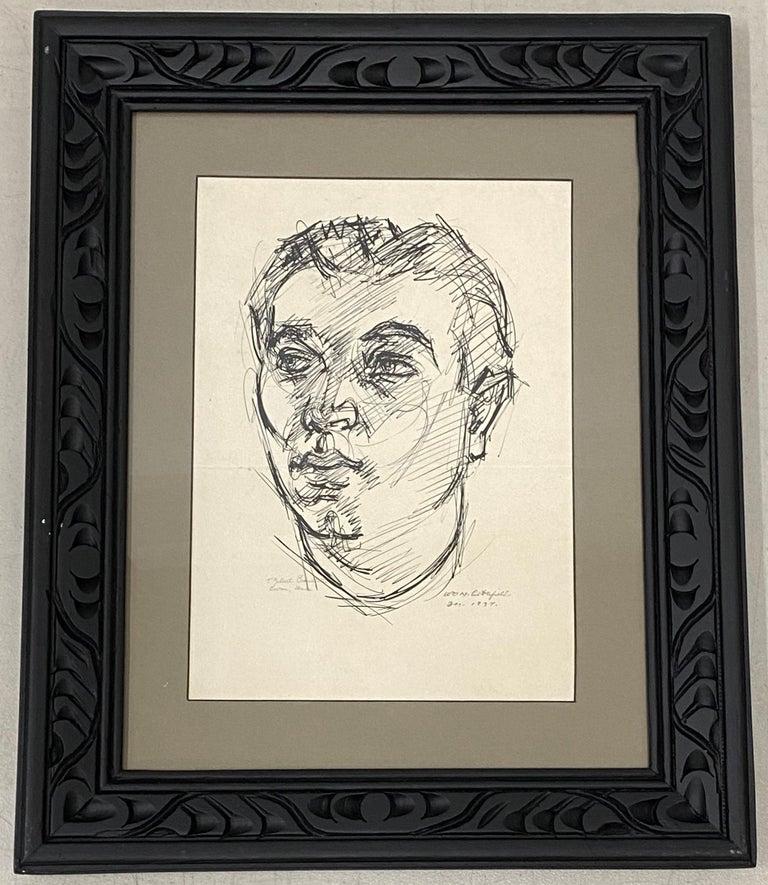 "William Littlefield ""Male Portrait"" Original Pen & Ink c.1937 - Art by William Littlefield"