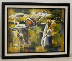 """Gladys Gray """"Stone Quarry"""" Original Abstract Watercolor c.1950"""