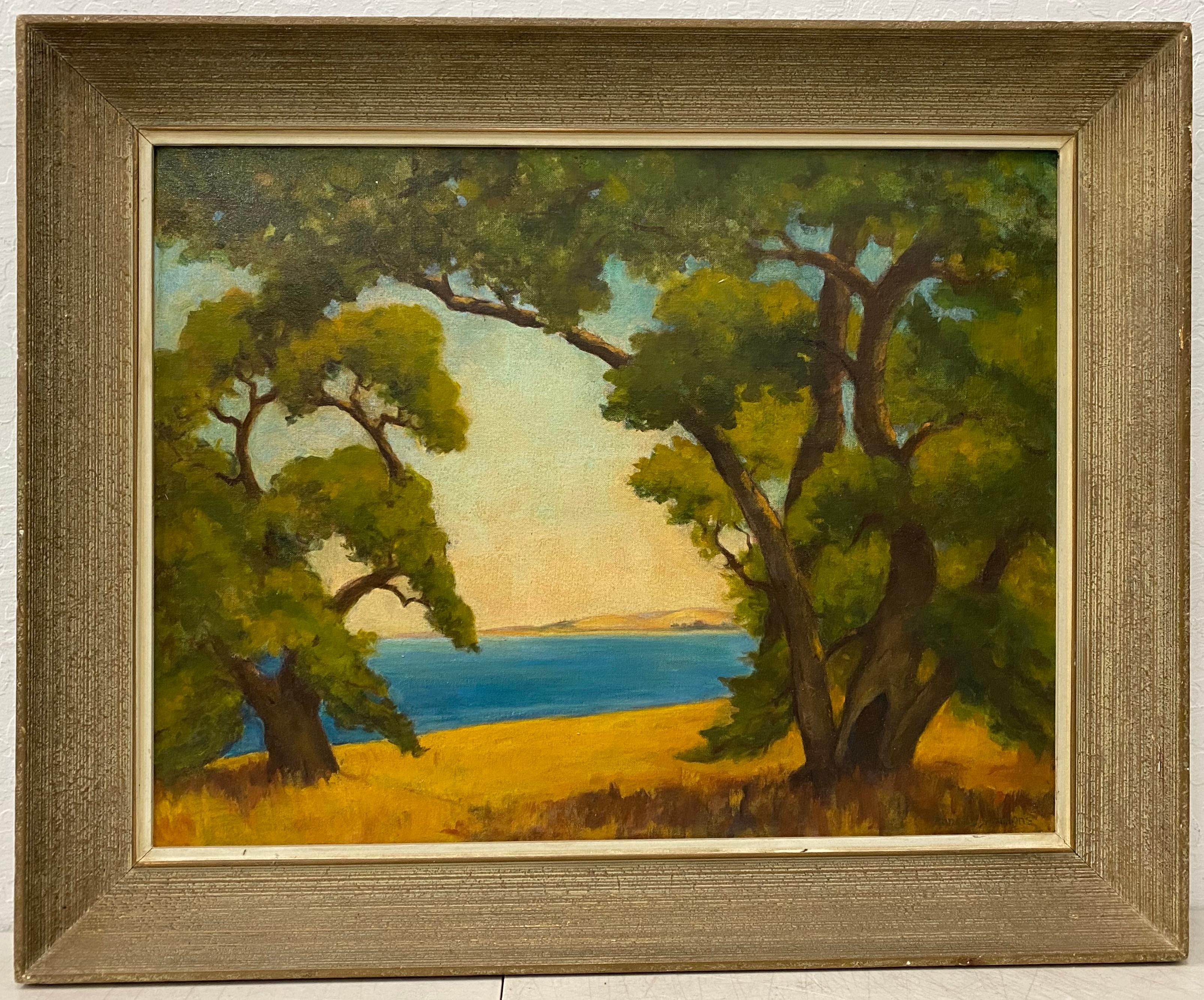 Anna G.E. Simmons Arts & Crafts Style Western Landscape C.1940