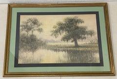 "Alexander John Drysdale ""Louisiana Bayou"" Original Watercolor C.1900"