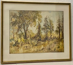 Vintage Watercolor Forested Landscape by Taylor C.1932