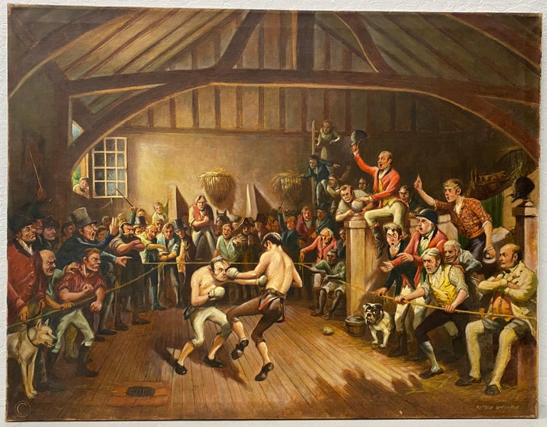 """Arthur Sheppard """"Stable Bout"""" Original Oil Painting C.1930 - Brown Interior Painting by Arthur Sheppard"""