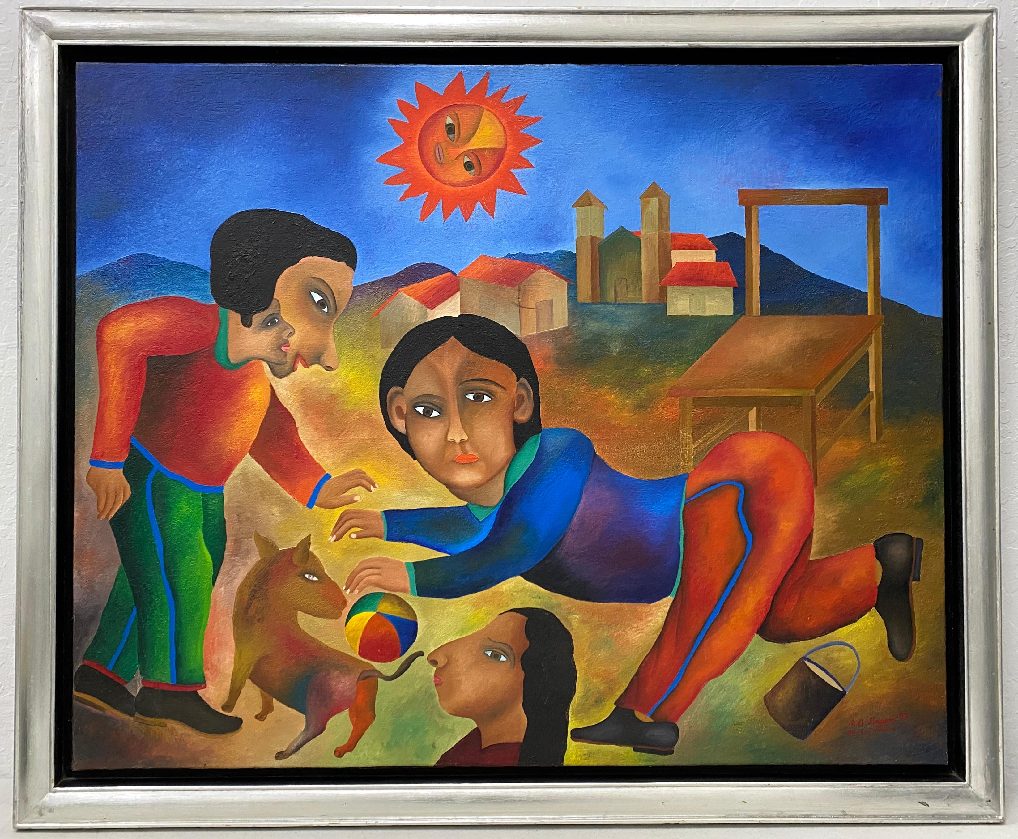 "Roman Andrade Llaguno ""Bajo El Sol"" Original Oil Painting C.1993"