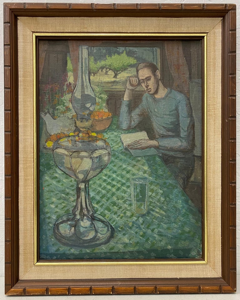 "Charles Gresham ""Reading by the Window"" Original Oil Painting c.1970 - Gray Interior Painting by Charles Gresham"