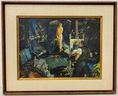 "John Grabach ""Artist and Model"" Original Oil Painting c.1950"