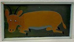 """Mruta Hashim Bushiri """"Antelope"""" Original Painting C.1970s"""