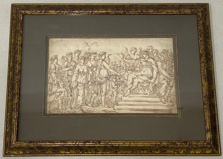 """18th to 19th Century """"Art Presentation"""" Old Master Drawing  Remarkable old master pen, ink and wash drawing of an art presentation  Dimensions 14"""" wide x 8.5"""" high  The lightly distressed contemporary frame measures 22.5"""" wide x 17.5"""" high  No"""